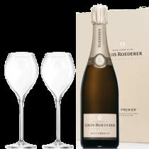 Coffret champagne Roederer Brut Premier +2 Flutes